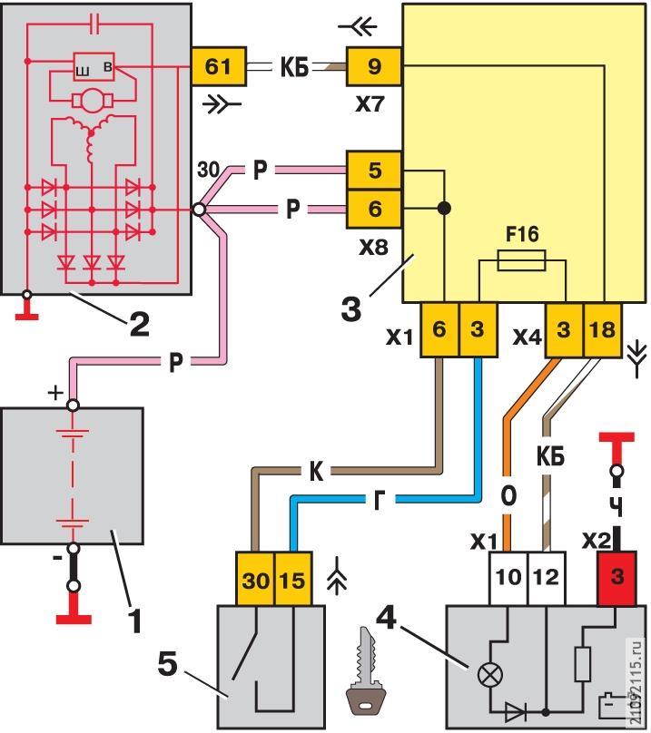 Схема подключения лампы индикации зарядки аккумулятора